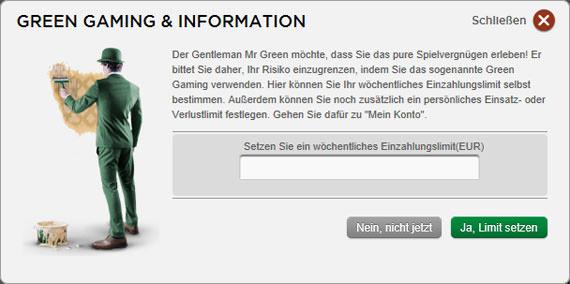 Pop-Up Green Gaming und Information bei Mr. Green