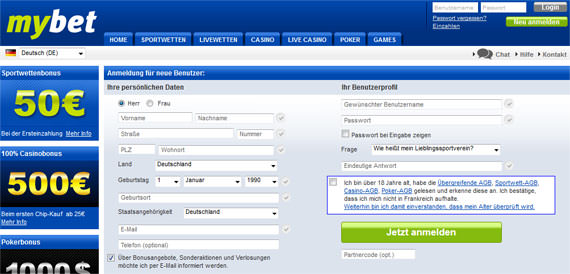 Das Mybet Registrierungsformular