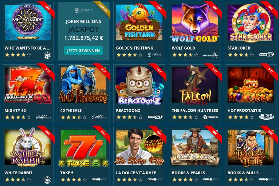 Verschiedene Casino Spiele bei Platincasino