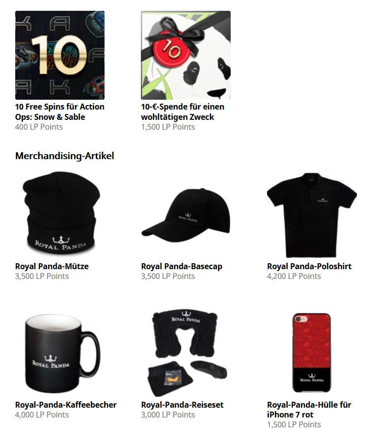Einige der Prämien im Punkte-Shop von Royal Panda