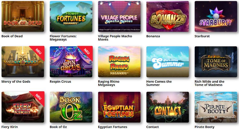Verschiedene Casino Spiele bei Royal Panda