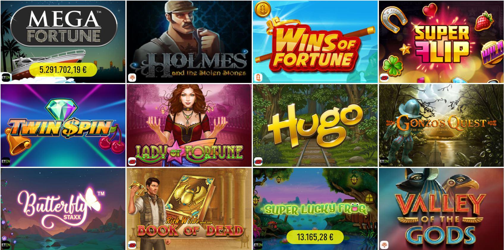 Verschiedene Casino Spiele bei Spinit