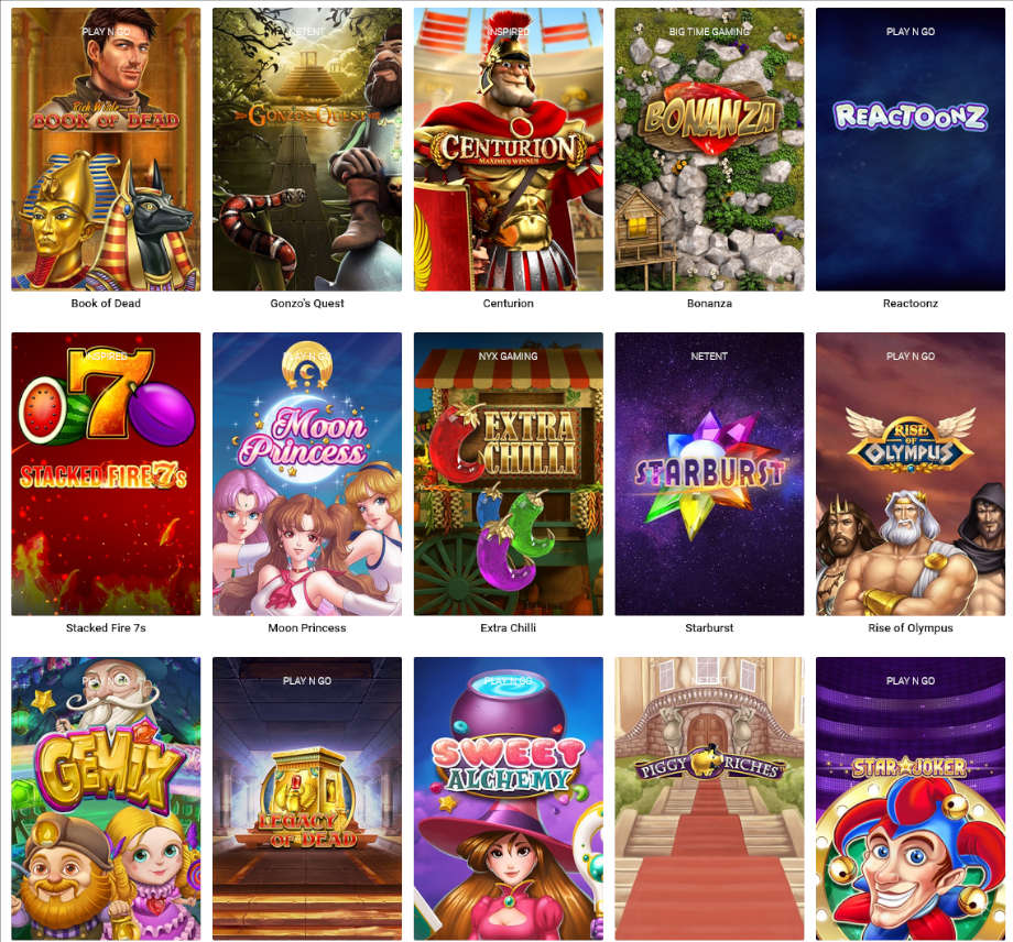 Verschiedene Casino Spiele bei Thrills