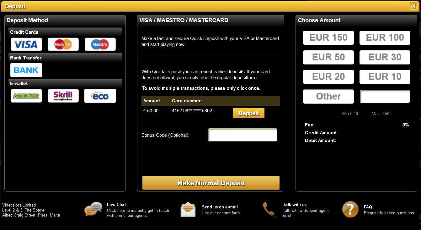 Menü für Ein- und Auszahlungen bei Videoslots