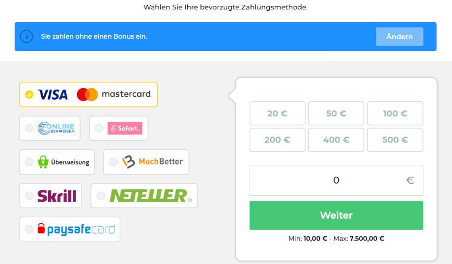 Menü für Ein- und Auszahlungen bei Wetten.com