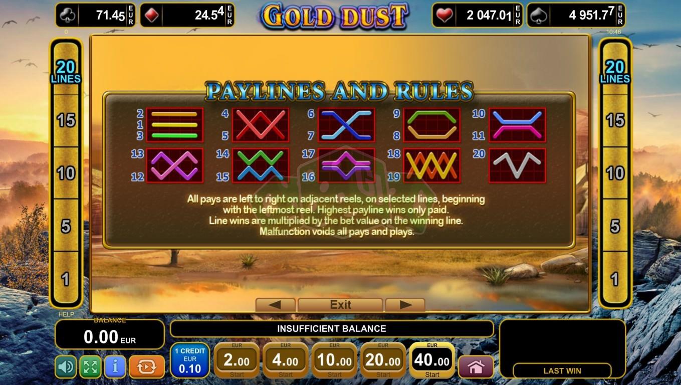 Gold Dust Egt Pravila