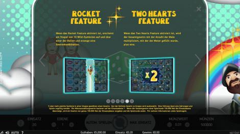 Rocket Feature and Two Hearts Feature