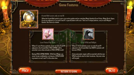 Crystal Ball & Love Potion Free Spins & Crow WIld and ReSpin