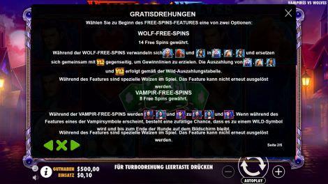 Freispiele bei Vampire vs. Wolves