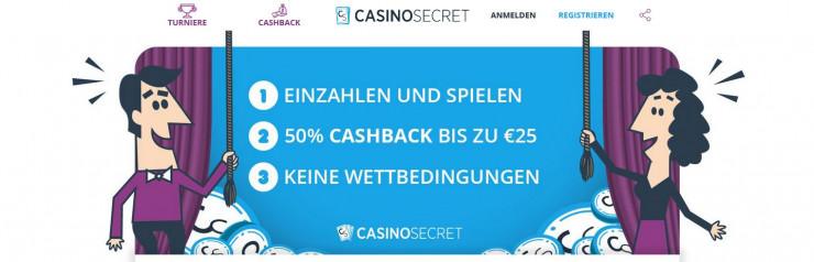 Das neue Casino Secret mit revolutionärem Sofort-Cashback-System