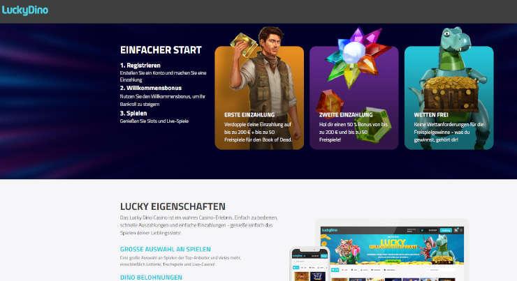 Neu auf GambleJoe: Erfahrungen mit dem LuckyDino Casino im ersten Test