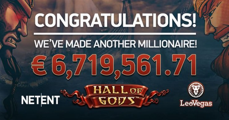 Hall of Gods Jackpot im April 2018 geknackt:  12. Millionär dank dem Slot
