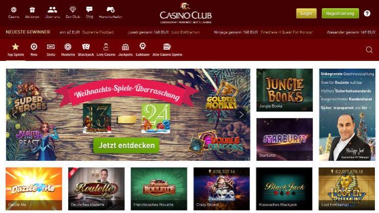 Neues Design und größeres Angebot bei CasinoClub