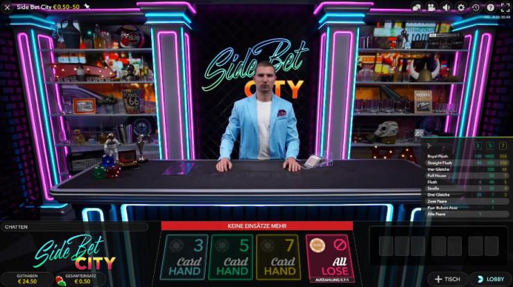Side Bet City Poker von Evolution Gaming