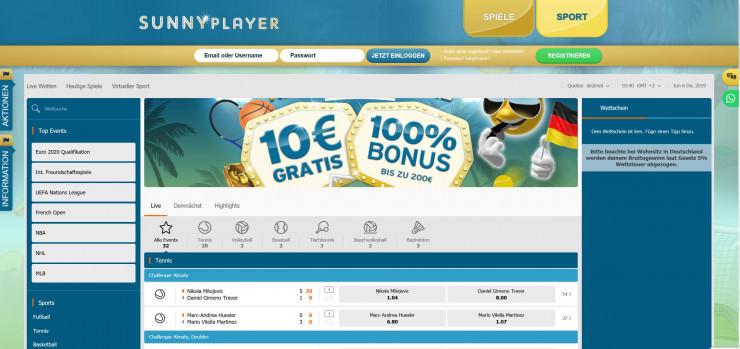 Neu: Sunnyplayer bietet Sportwetten wie Sunmaker