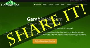 Erklärung der neuen Teilenfunktion auf GambleJoe